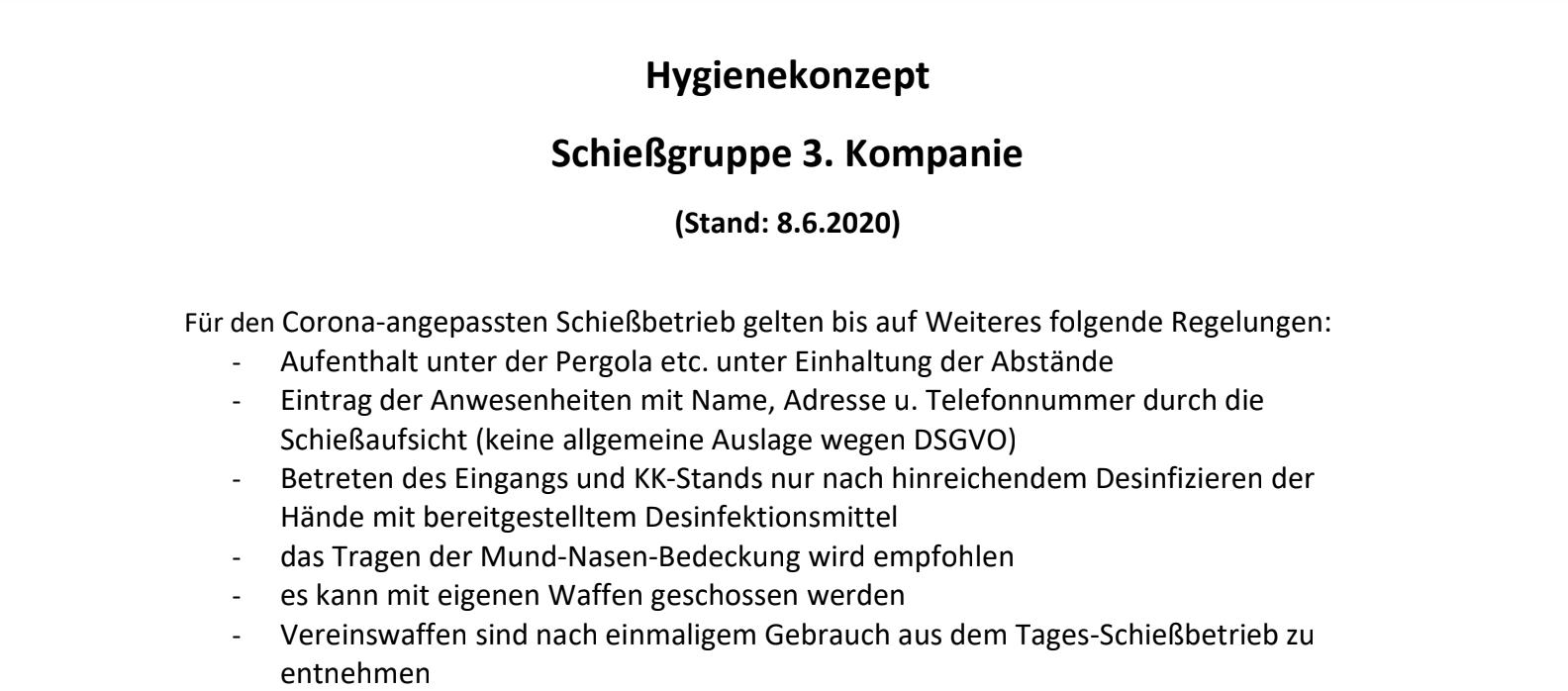 Hygeniekonzept der Schiessgruppe 3. Kompanie